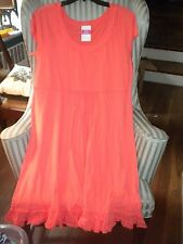 NWT FRESH PRODUCE COTTON  S/S SUNSHINE STYLE DRESS  IN SOLID RED CORAL...(L)