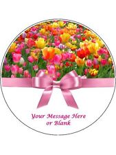"""Personalised Pink & Yellow Tulips with bow  7.5"""" Edible Wafer Paper Cake Topper"""