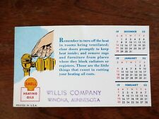 1952 Shell Heating Oils Blotter Calendar Ad Willis Company Winona Minnesota Mn