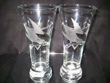 SAN JOSE SHARKS 2 ETCHED LOGO PILSNER 20 oz GLASSES
