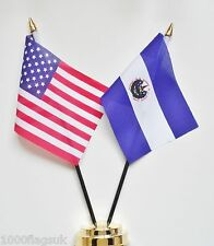 United States of America & El Salvador Double Friendship Table Flag Set