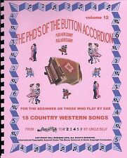 """BUTTON ACCORDION  BOOK, PLAY BY #S, """"18 COUNTRY WESTERN SONGS"""", EASY & FUN"""