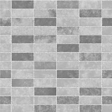 Fine Decor FD40117 Ceramica Grey Slate Tile Brick Effect Vinyl Wallpaper