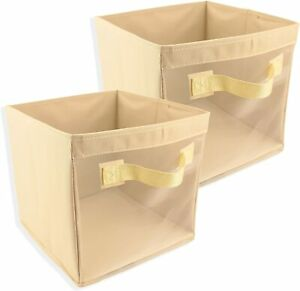 Storage Cube with Handle 100 percent Oxford Woven Set of 2 With Mesh Front