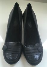 "Wear Ever Slip On Black Leather ""Petra"" Button Loafers Heels Women's Size 10"