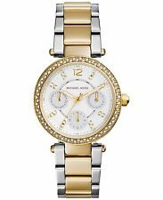 ** Nuovo * donna Michael Kors oro MINI CRYSTAL PARKER 2-tone WATCH mk6055-Rrp £ 259