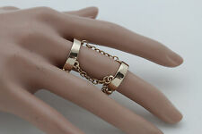 New Women Gold Knuckle Ring Fashion Jewelry One Size Elastic Double 2 Bands Long