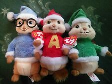 BRAND NEW Alvin And The Chipmunks Christmas Plush Ty Beanie Babies