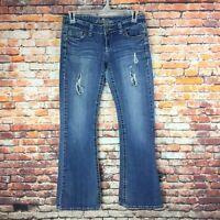 Premiere Womens Size 5/6 Regular Flare Distressed Dark Wash Denim Jeans