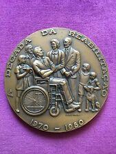 Beautiful antique and rare bronze medal of Decade of rehabilitation, 1970-1980