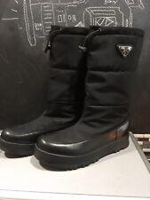 Prada Logo Appliqued Quilted Snow Boots Linea Rossa Women Sz 40 Or 9.5