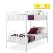 Modern 3ft Single White Metal Bunk Bed Frame for 2 Person Adult Children Bedroom