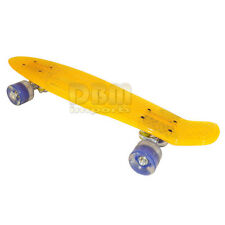"YELLOW 22"" Transparent Cruiser Clear Deck Skateboard Style Light Up Wheels"