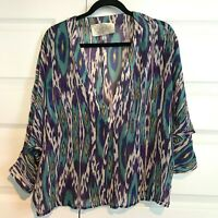 RORY BECA Womens 100% Silk Ikat Blue Purple V Neck Dolman Sleeve Blouse Shirt S