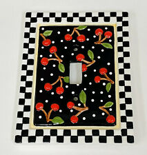 Mary Engelbreit Ceramic Cherries Black Red Light Switch Plate Cover 1995 NEW