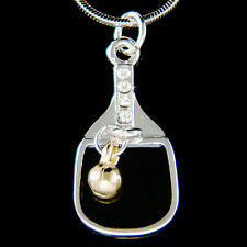 w Swarovski Crystal ~Table Tennis~ Ping Pong Ball Racket Racquet Charm Necklace