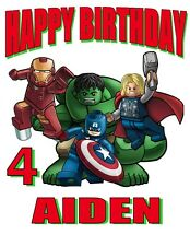 NEW PERSONALIZED AVENGERS LEGO SUPER HERO`S BIRTHDAY T SHIRT