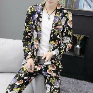 Men One Button Floral Printing Slim Casual Spring Blazer Pants T-shirt 3Pcs Suit