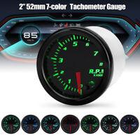 Universal 2'' 52mm 7 Color LED Car RPM Tacho Tachometer Gauge Meter Pointer 12V