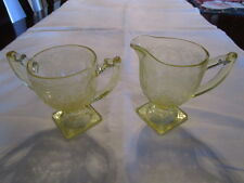 LOVELY Vintage Yellow Depression Glass Footed Creamer & Open Sugar Floral