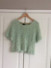 Topshop fluffy mint green sparkly short sleeved jumper uk 14