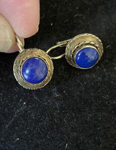 Vermeil Sterling Silver Lapis Lazuli Cabochon Earrings Southwestern Hook Drops