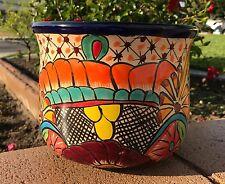 "Authentic Fine Talavera 8""Ceramic Pot Planter Mexican Fine Art Blue Rim Burgundy"
