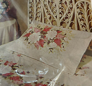 Vtg Sears Roebuck Floral Pink Brown White All Cotton Percale 2 Pillow Cases NOS