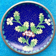 Antique Cloisonné Tray Dish Authentic Signed China Flower Chinese Brass Asian
