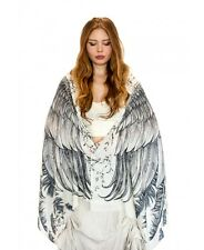 White Wings Delicately Hand-Painted Scarf Wrap, 100% Cotton Scarf