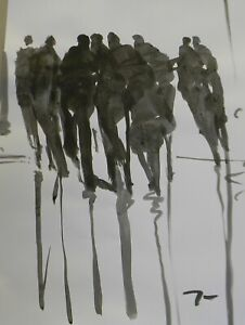 "Jose Trujillo - 18x24"" Ink Wash Painting Abstract Figures Party Contemporary Art"