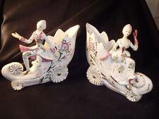 VTG Pair MCM Ceramic Figurine Planters Georgian Period Dress Hollywood Regency