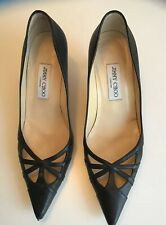 "Jimmy Choo  Black Leather Pump Size 39 2.5"" Inch Heel"