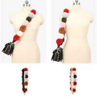 Fashion Faux Leather Fur Ball Wide Shoulder Strap Replacement  For Handbag Bag