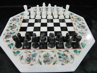 2 Inches King Marble Chess Board Table Top Inlay Art Coffee Table Best for Kids