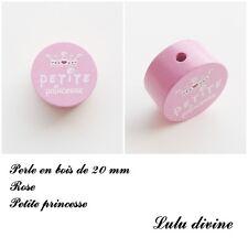 Perle en bois de 20 mm, Perle plate, Petite princesse : Rose