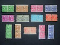 1939 #839-851 Presidential Series Coil Line Pairs  MNH OG VF CV $140.00 #7