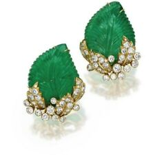 14k Yellow Gold on 925 Sterling Silver Carved Emerald Leaf Style Stud Earrings