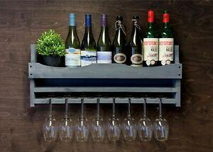 Personalised Wine Shelf Rack Bottle 8 Glass Holder Grey Home Garden Bar (8GR)EM
