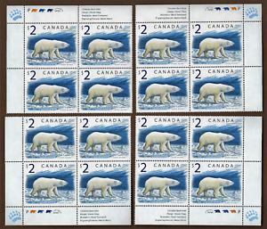 Canada — Set of 4 Blocks — 1998, Polar Bears, #1690 MNH