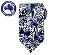 Men's Necktie Silver Dark Blue Paisley 8.5CM Neck Tie Groom Wedding Classic Ties