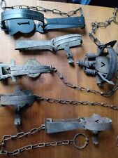 Six Vintage animal Traps antique iron trapping gear small game hunting