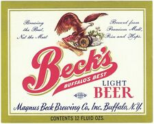 Beck's Buffalo's Best Light Beer Label