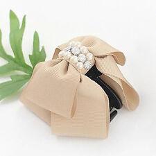 Fashion 1PC Women's Bowknot Rhinestone Pearl Hair Clip Claw Barrette Headwear