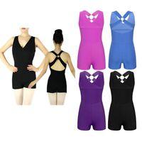 Girls Kids V Neck Backless Ballet Leotard Dancewear Gymnastics Jumpsuit Unitard