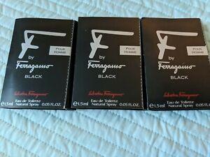 Salvatore Ferragamo F by Ferragamo Black EDT 1.5ML 0.05FLoz Sample Set of 3 New