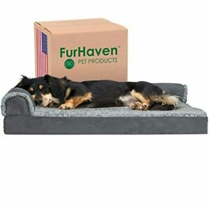 Furhaven Pet Dog Bed - Deluxe Orthopedic Two-Tone Plush and Suede L Shaped Chais