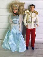 Vintage Mattel Disney Cinderella and Prince Charming Dolls Doll Set With Dress
