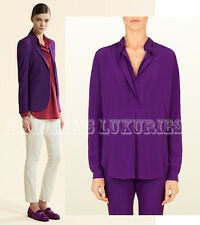 $750 GUCCI TOP PURPLE SILK BLOUSE DOUBLE FRONT SHIRT LOGO BUCKLE IT 46 US 10