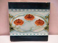 Antique Tile Art Nouveau Majolica Porcelain England Flowers Design Decorativ*506